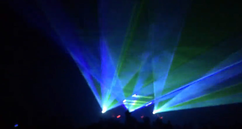 Blue, Green, Purple laser waves, laser fans