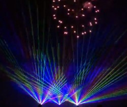 Firework show with lasers