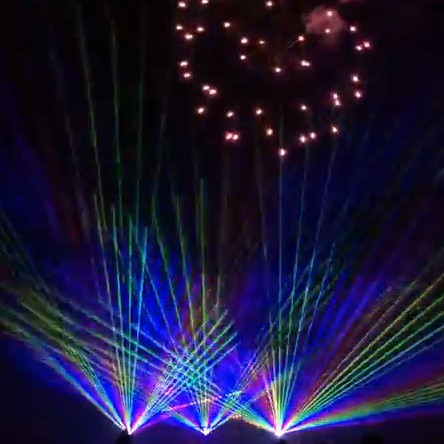 Firework show with lasers, crazy fireworks