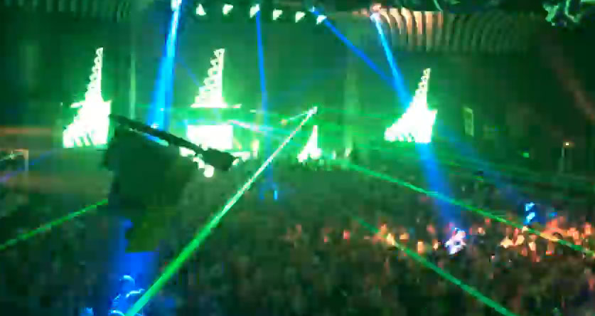 Night club with green and blue lasers